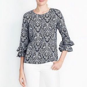 Beautiful J. Crew Floral Ruffle Blouse 3/4 Sleeve